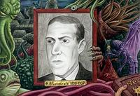 Portrait de H. P. Lovecraft entouré de créature du Mythe de Cthulhu