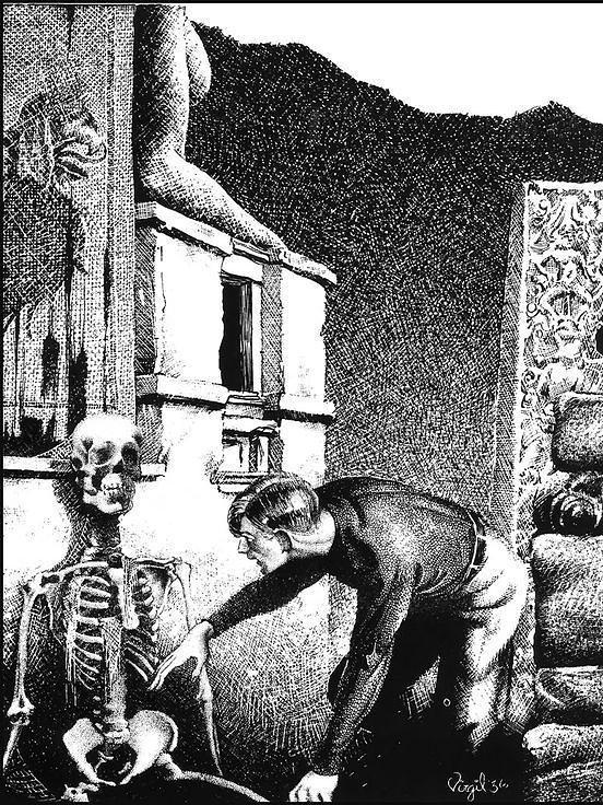 The Haunter in the Dark (illustration), par Virgil Finlay